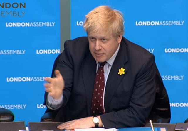 Video grab of Foreign Secretary Boris Johnson appearing before the London Assembly at City Hall, London to answer questions about the procurement of the Garden Bridge. (London Assembly/PA)