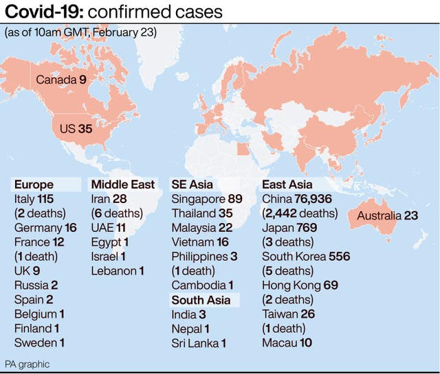 PA infographic on confirmed Covid-19 cases