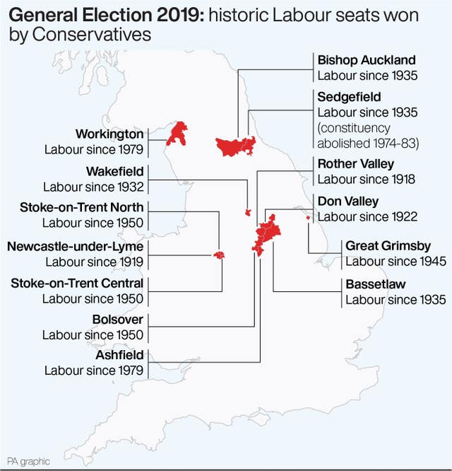 Historic Labour seats won by Conservatives