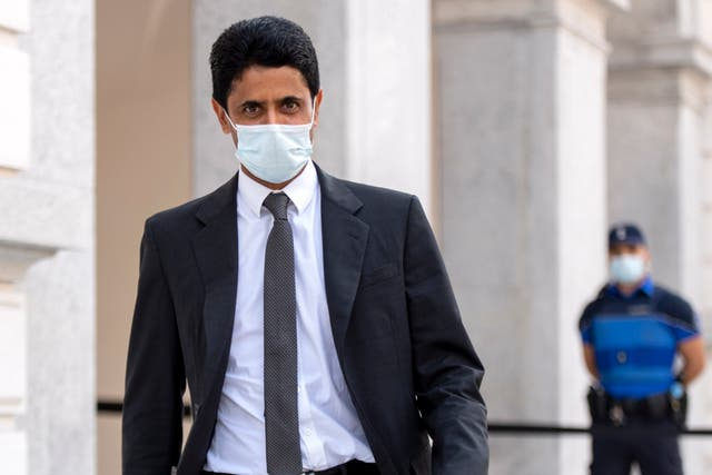 Nasser Al Khelaifi arrives at the Federal Criminal Court in Bellinzona, Switzerland, on Monday