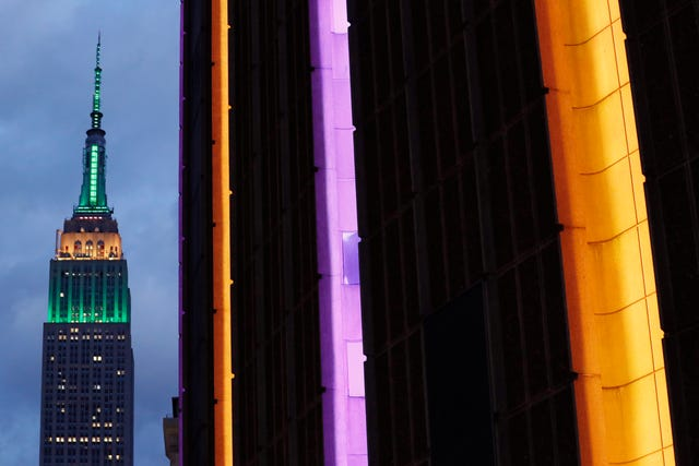 The exterior of Madison Square Garden was coloured orange and purple