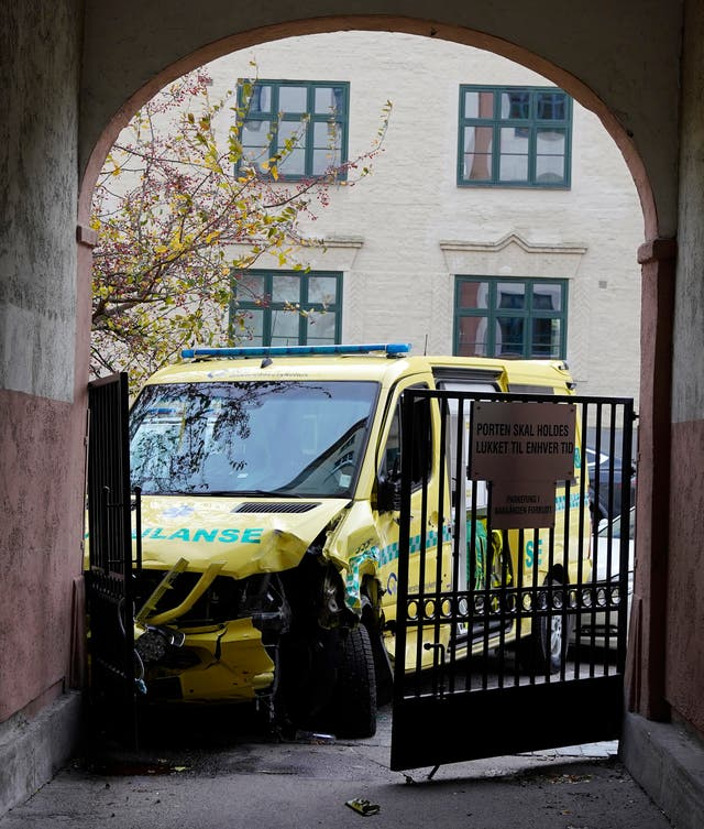The crashed ambulance