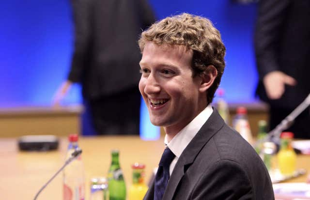 Facebook founder Mark Zuckerberg (Chris Ratcliffe/PA)