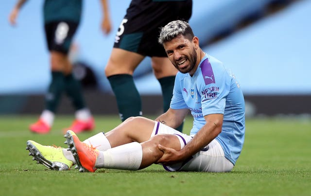 Aguero is still sidelined after suffering a knee injury in June
