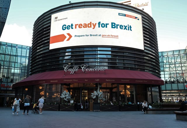 An electronic display showing a 'Get ready for Brexit' Government advert in London. (Yui Mok/PA)