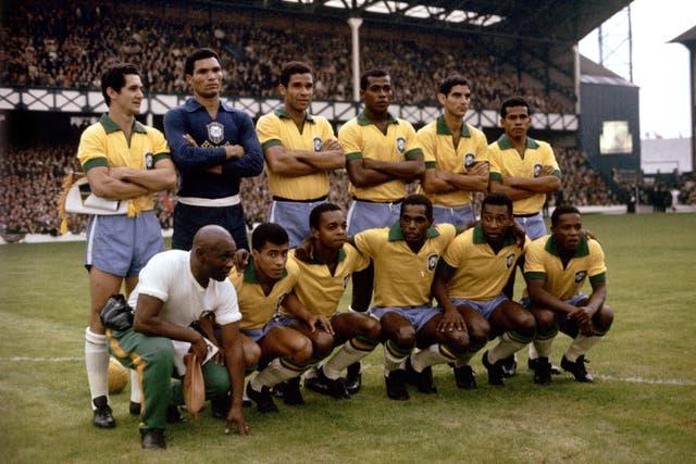 Brazil team group: (back row, l-r) Orlando, Manga, Brito, Denilson, Rildo, Fidelis; (front row, l-r) trainer Americo, Jairzinho, Lima, Silva, Pele, Parana