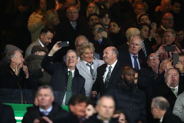 Singer Rod Stewart, a Celtic fan, was in the stands at Parkhead