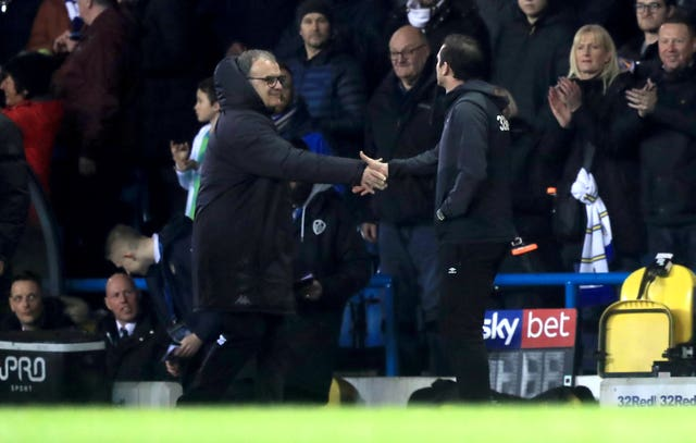 Lampard and Bielsa shared a formal handshake before kick-off