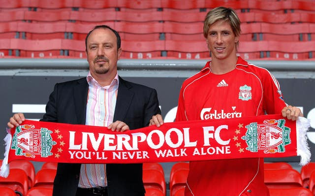 Rafael Benitez brought Torres to Anfield for a reported fee of £20million in July 2007