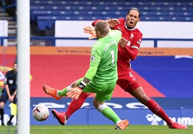 Van Dijk was injured by a tackle from Everton goalkeeper Jordan Pickford in last weekend's Merseyside derby