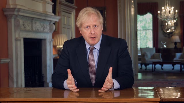A screen grab of Boris Johnson addressing the nation on May 10 2020 (PA)