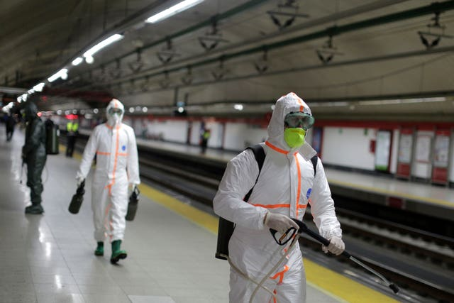 A subway is disinfected in Madrid