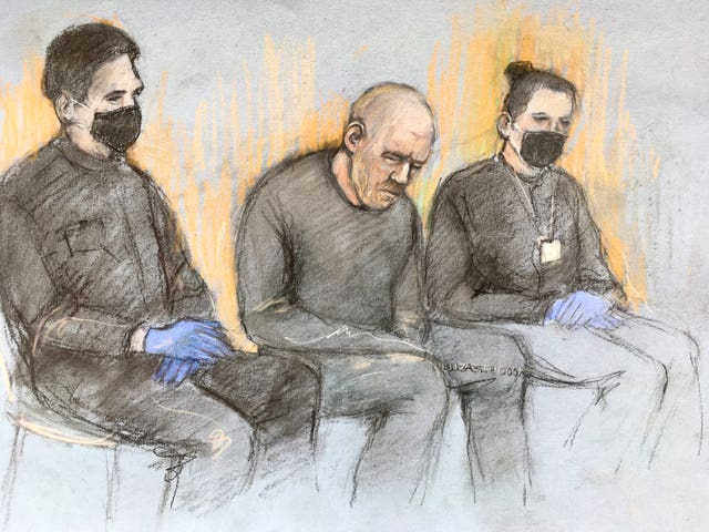 Court artist sketch of Wayne Couzens appearing in the dock at Westminster Magistrates' Court