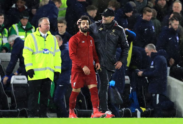 Jurgen Klopp, right, and Mohamed Salah are posing a problem for Manchester City in the title race