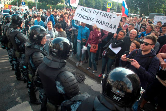 Russian pension protesters