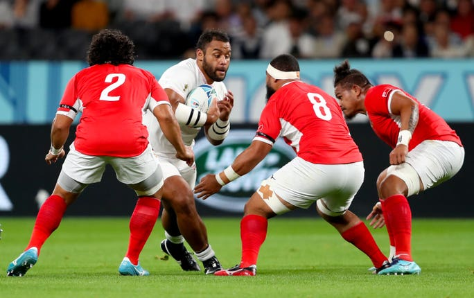 Billy Vunipola in action against Tonga