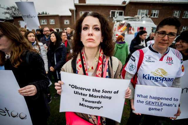 Belfast Feminist Network activists hold a protest outside the Kingspan Stadium (Liam McBurney/PA)