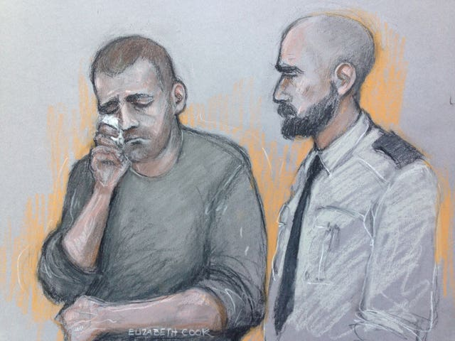 A court sketch of Ryszard Masierak (left) who denies all charges relating to the crash (Elizabeth Cook/PA)