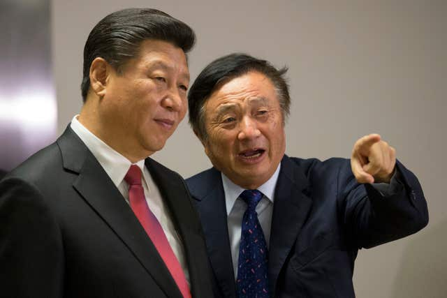 Ren Zhengfei, right, with China's President Xi Jinping