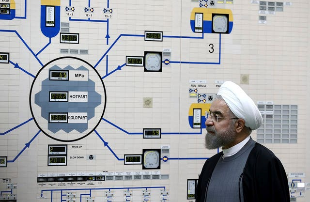President Hassan Rouhani visits the Bushehr nuclear power plant just outside of Bushehr, Iran, in 2015