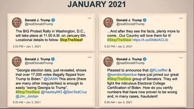 Tweets by Donald Trump are displayed for senators (AP)