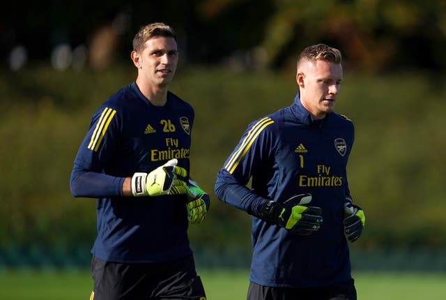 Arsenal goalkeepers Emiliano Martinez (left) and Bernd Leno will be fighting it out to be Arteta's first-choice
