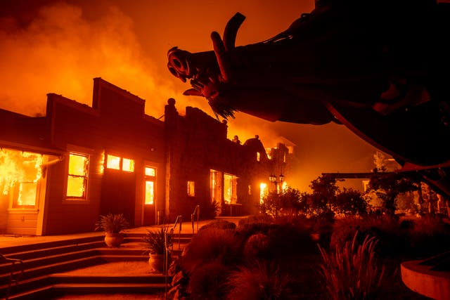 Flames from the Kincade Fire consume Soda Rock Winery in Healdsburg, California