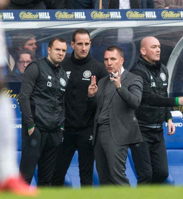 Kennedy and Rodgers in the Ibrox dugout