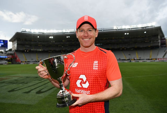 England captain Eoin Morgan poses with the T20 trophy for winning the series against New Zealand 3-2