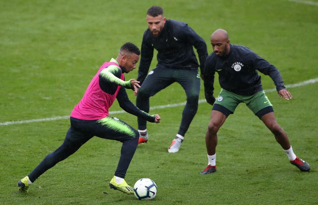 Gabriel Jesus (left) is looking forward to tackling Manchester City team-mate Nicolas Otamendi (centre) when Brazil take on Argentina