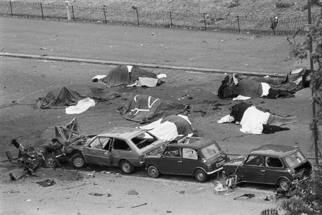 The scene following the IRA car bomb blast in Hyde Park