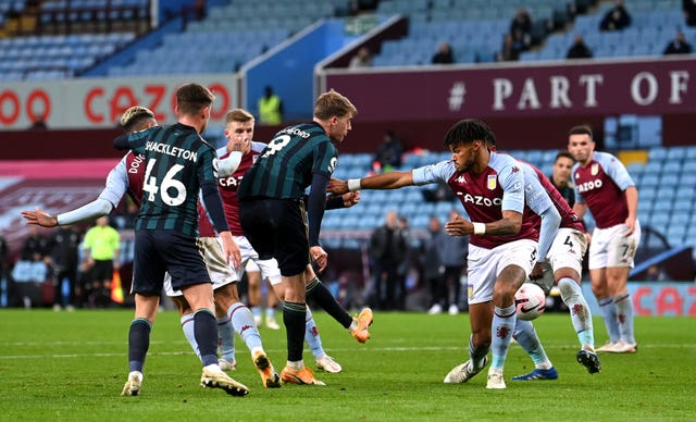 Bamford, centre left, completes his hat-trick in last week's victory at Villa Park