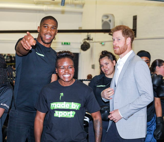Adams with The Duke of Sussex and Joshua at the launch of Made by Sport