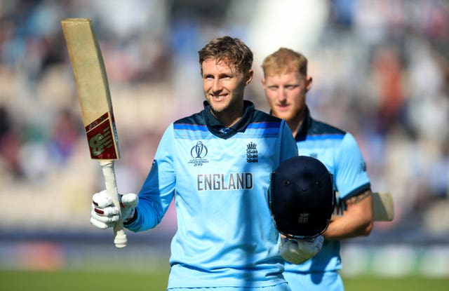 Joe Root toasts England's third win of the World Cup.