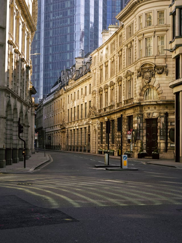 A photo issued by Historic England from its Picturing Lockdown Collection of Threadneedle Street, City of London by artist Polly Braden