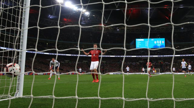 Czech Republic's Tomas Kalas put through his own net for England's fifth goal