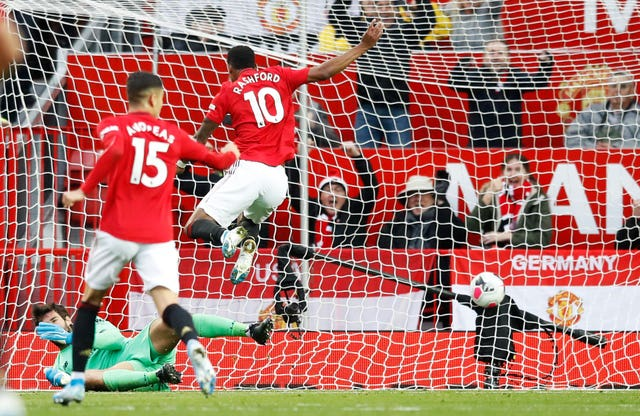 Marcus Rashford (number 10) put United ahead at Old Trafford