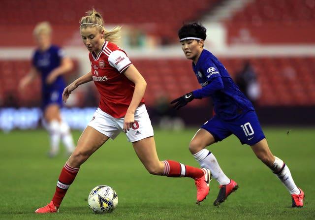 Leah Williamson (left) scored Arsenal's equaliser