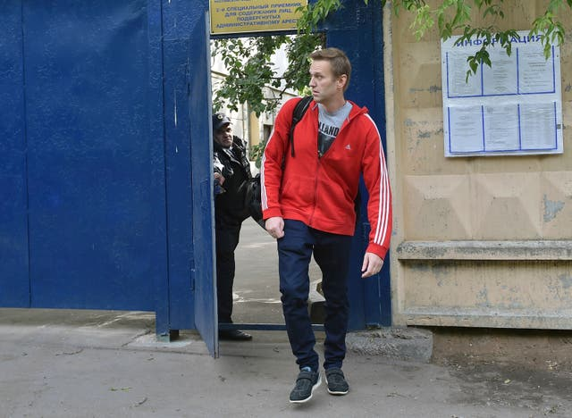Alexei Navalny leaves the detention centre in Moscow