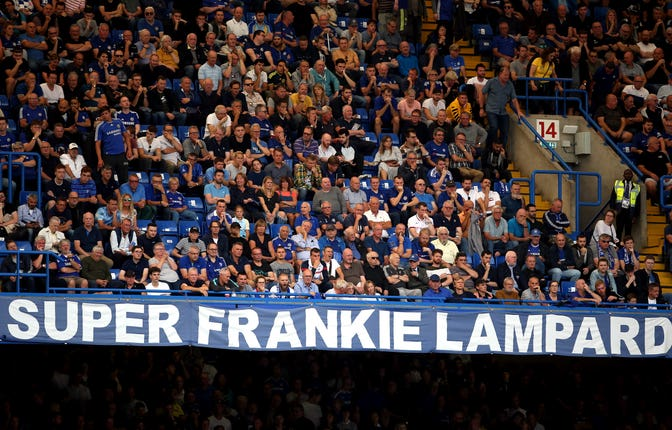 Chelsea fans showed their support for Lampard at Stamford Bridge