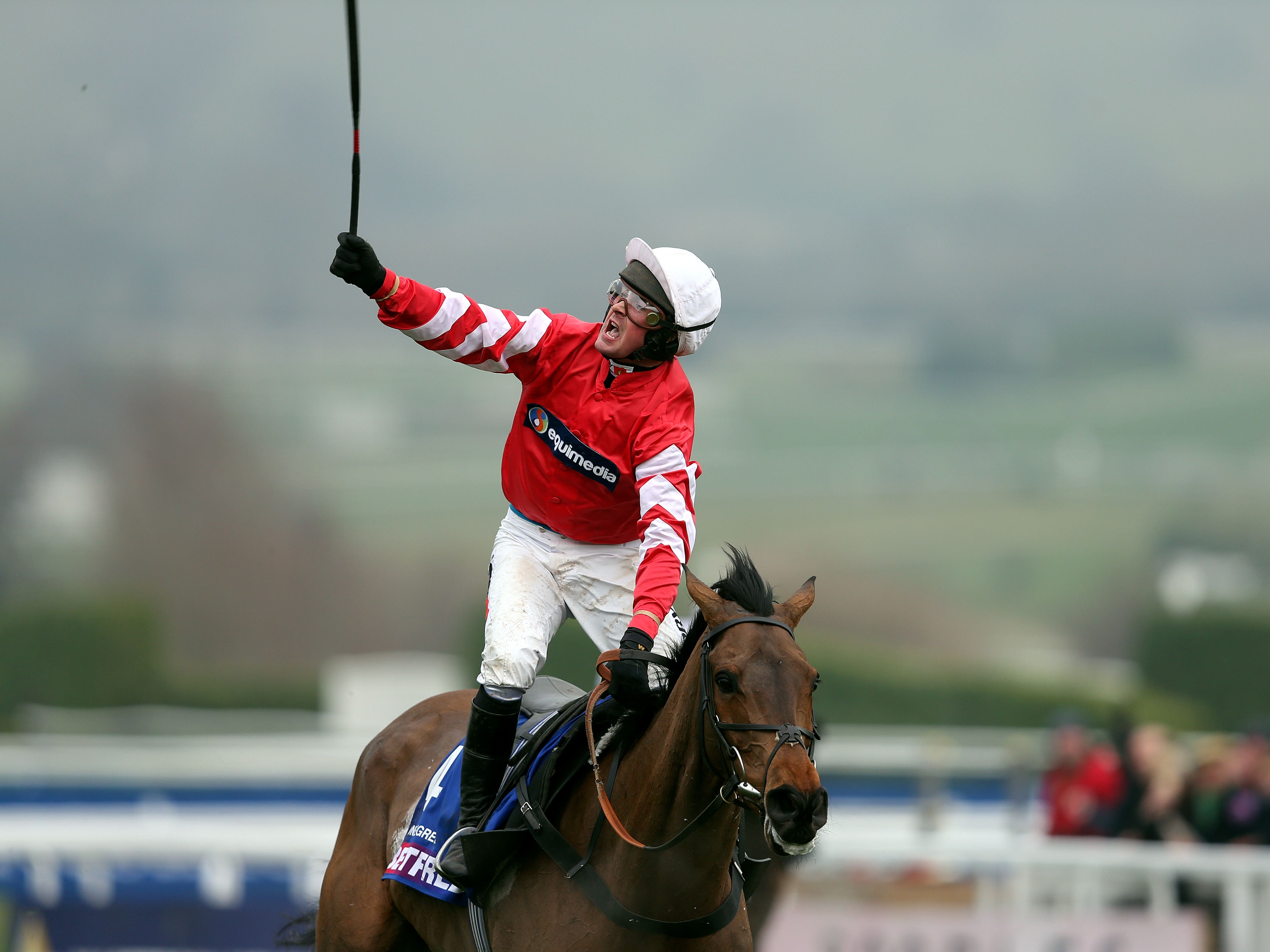 Coneygree and Nico de Boinville after winning the Cheltenham Gold Cup (David Davies/PA)