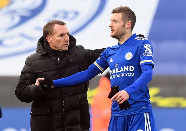 Brendan Rodgers, left, with Jamie Vardy