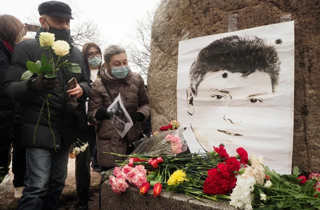 People gather on the anniversary of Boris Nemtsov's death