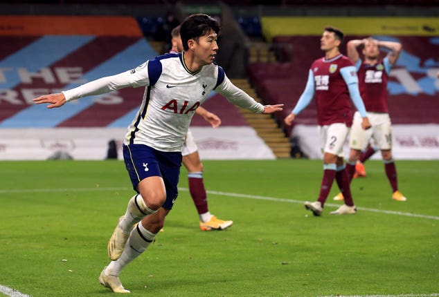 Son Heung-min scored Tottenham's winner at Burnley (Lindsey Parnaby/PA)