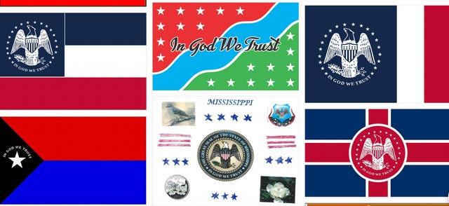 Designs for the new state flag (Mississippi Department of Archives/PA)