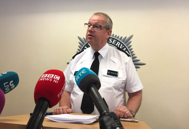 PSNI chief constable Simon Byrne gives a press conference