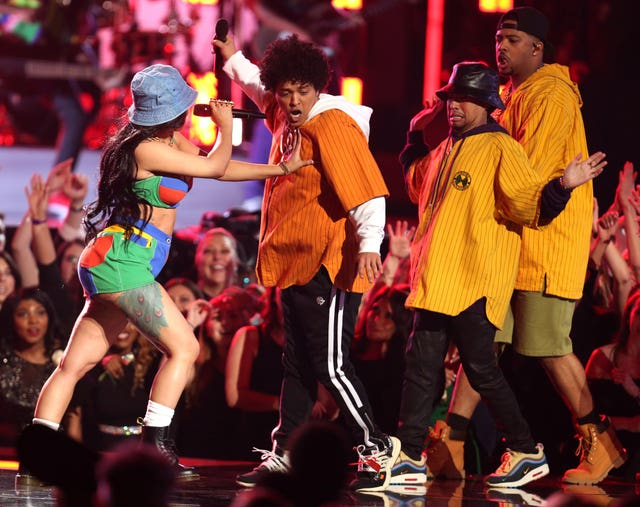 Bruno Mars and Cardi B perform Finesse at the 60th annual Grammy Awards (Matt Sayles/Invision/AP)