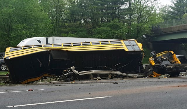 The wrecked school bus in New Jersey (Chrissy Oleszek via AP)