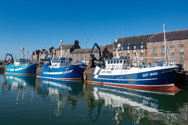 Trawlers at Peterhead in Aberdeenshire