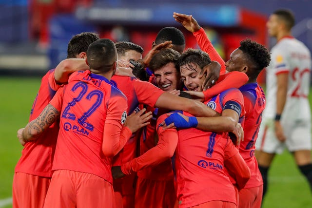 Chelsea players celebrate a memorable night in Spain